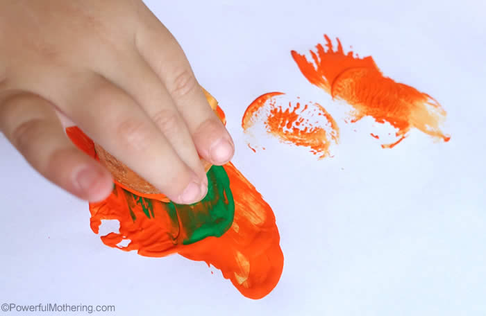 stamping with carrots
