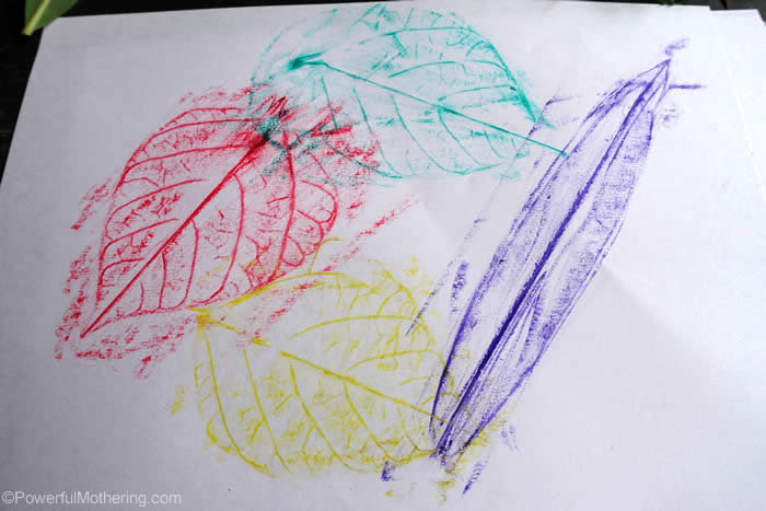 leaf idea with crayons