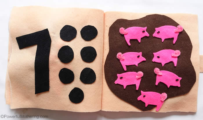 7 little piggies quiet book page