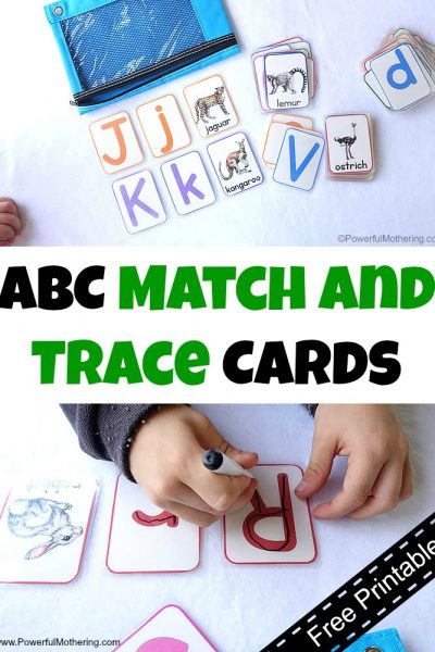 ABC Match and Trace Cards Free Printable