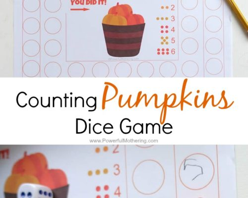 Counting Pumpkins Dice Game