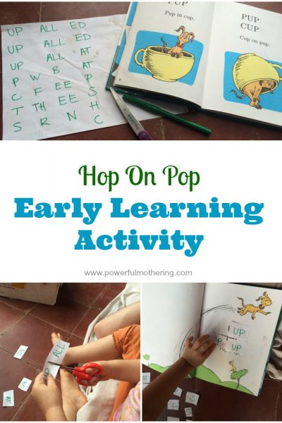 Hop on pop early learning activity