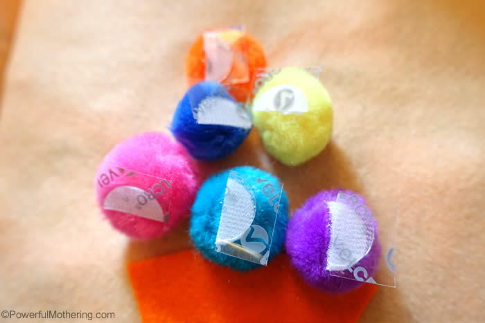 adding velcro to pom poms