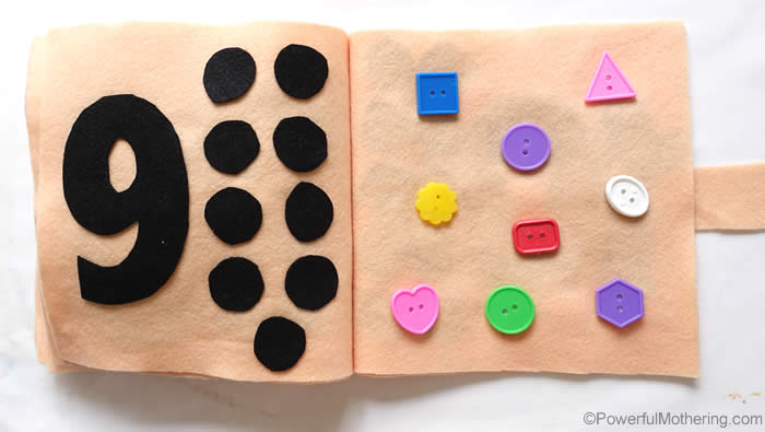 button counting quiet book page