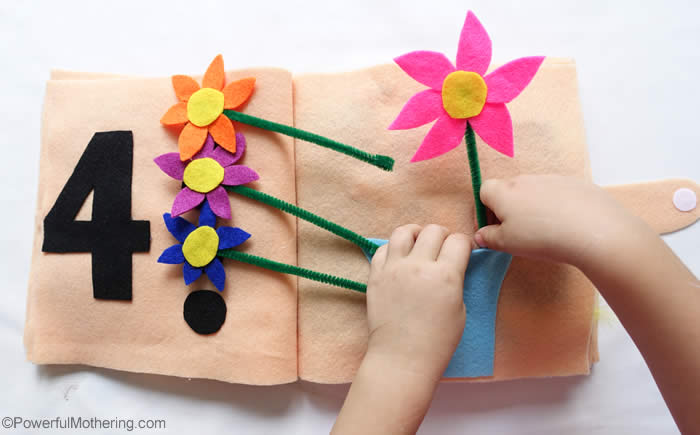 counting flowers in a vase quiet book page