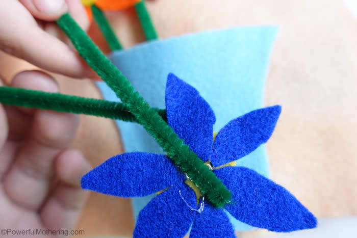 felt flowers with pipecleaners