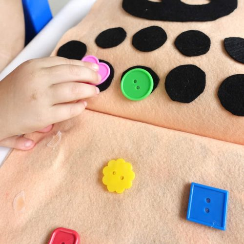 fine motor skills with buttons
