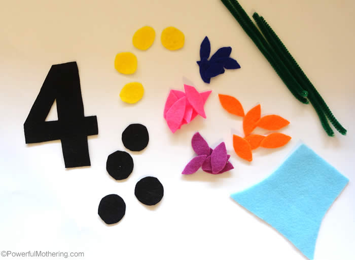 flower cut outs for no sew quiet book