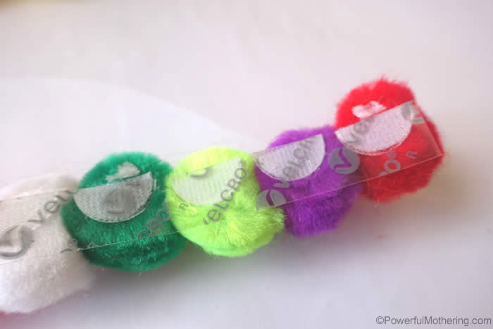 pom poms on velcro dots