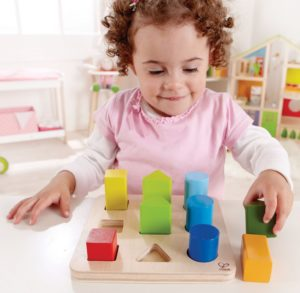 starter wooden shape sorter for 1 year olds