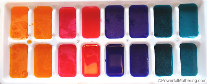 Color selection for ice cubes