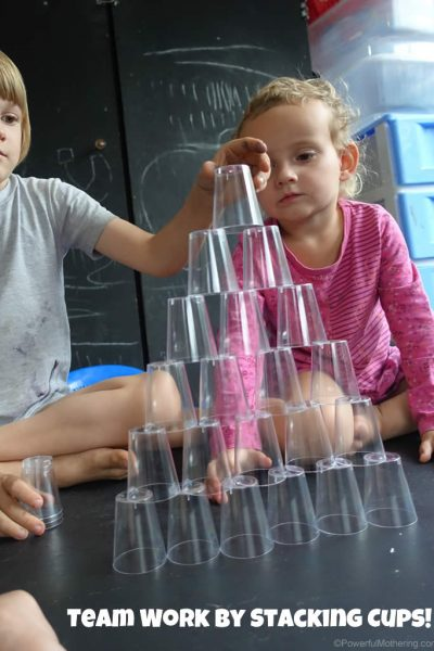 build a stacking cup tower for team work