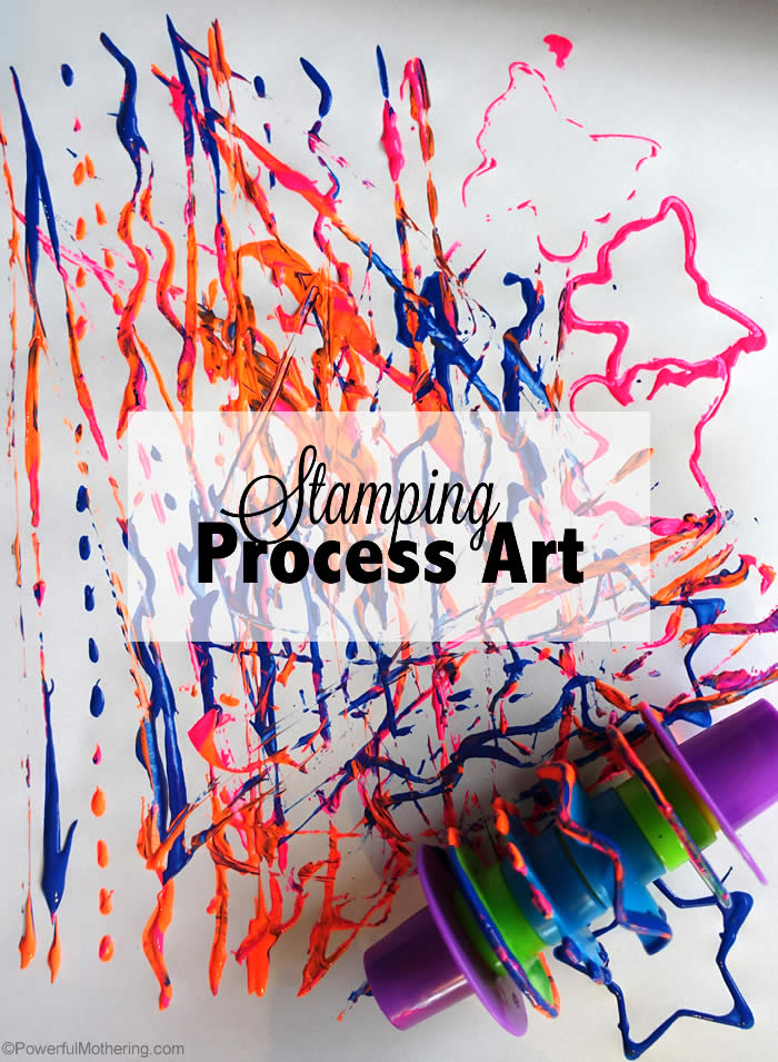 free process art with playdough stamps