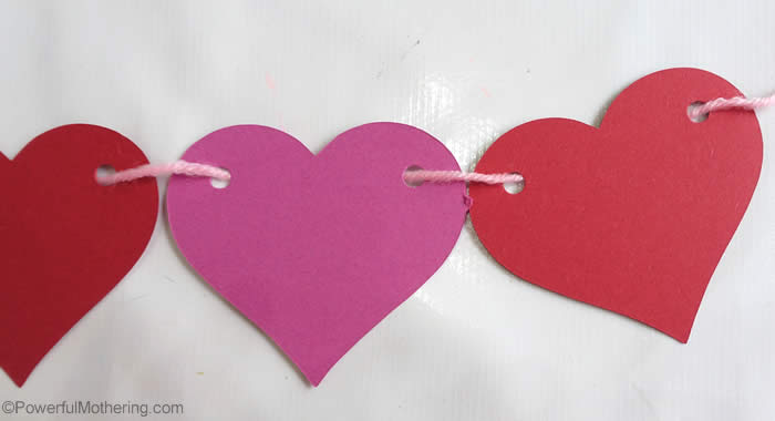 heart garland threaded