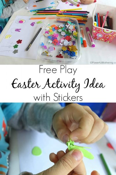 Fine motor Free Play Easter Activity Idea with Stickers
