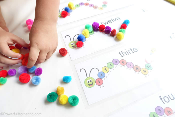 busy bag with pom poms for counting numbers