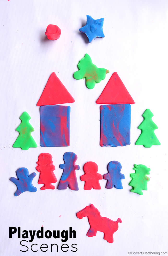 create different scenes with playdough tools and playdough