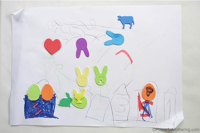 creative drawings with stickers fine motor idea