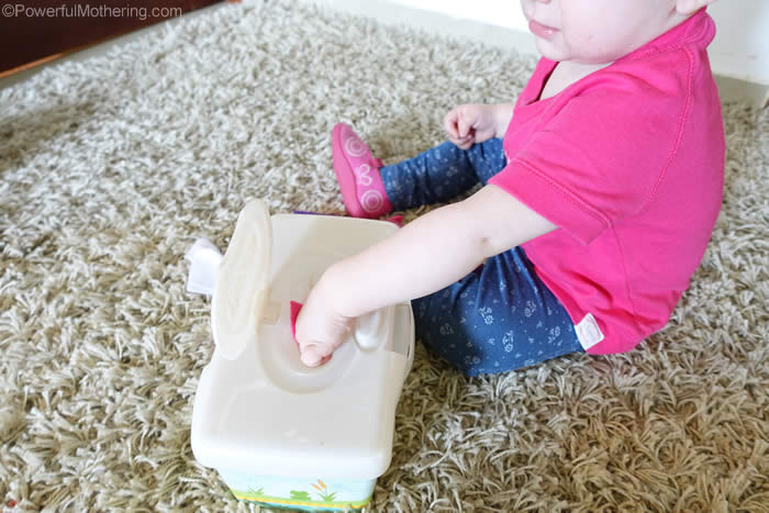early fine motor skills with scraps of fabric