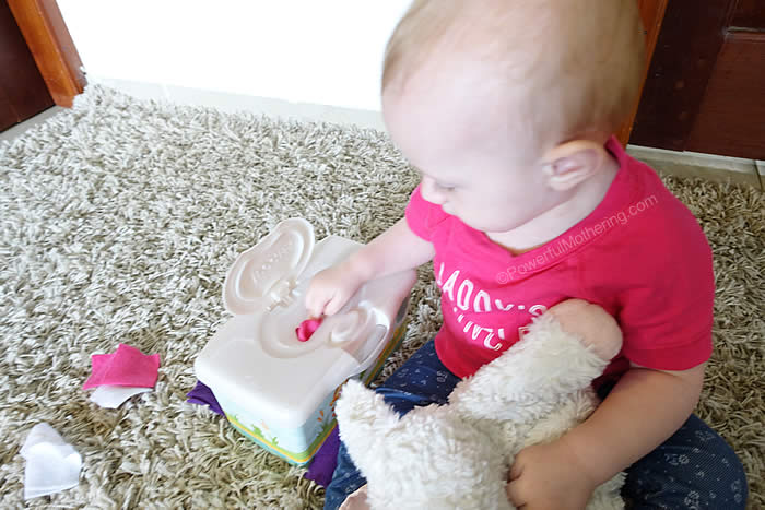 easy baby activity with scraps of fabric
