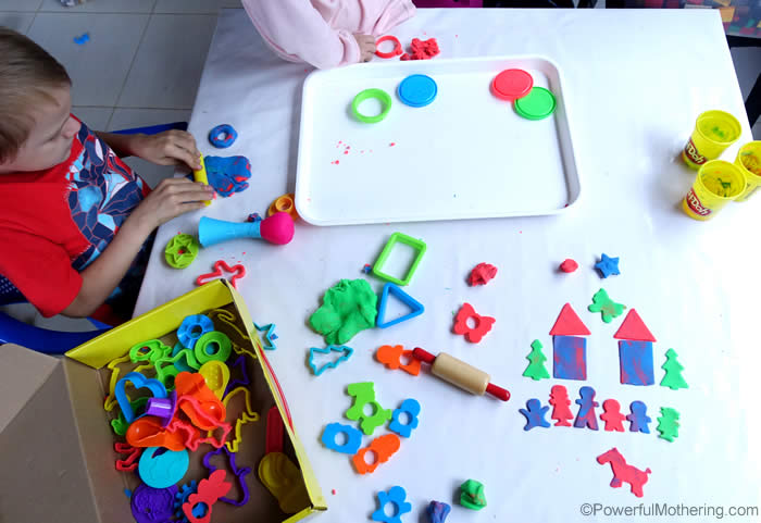 making central with playdough tools