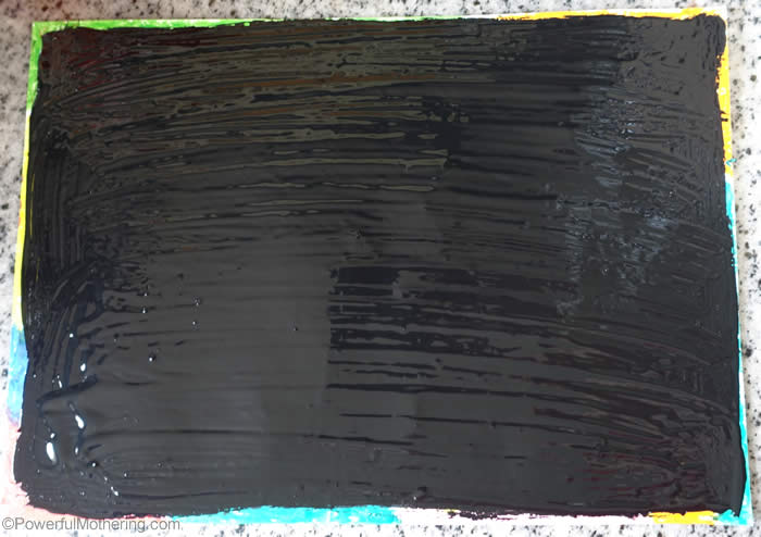 painted with black paint