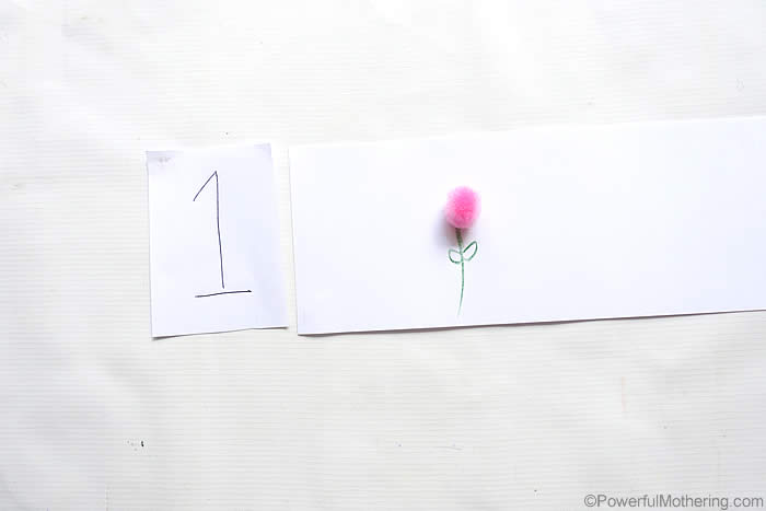 preschool spring flower activity with number recognition