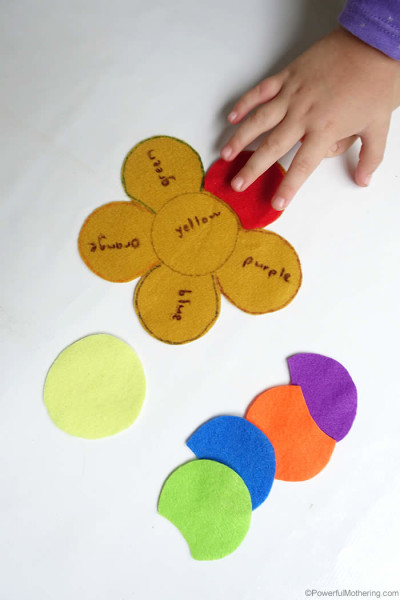 F is for Felt Flower – Color Word Matching Busy Bag
