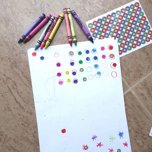easy color activity with stickers
