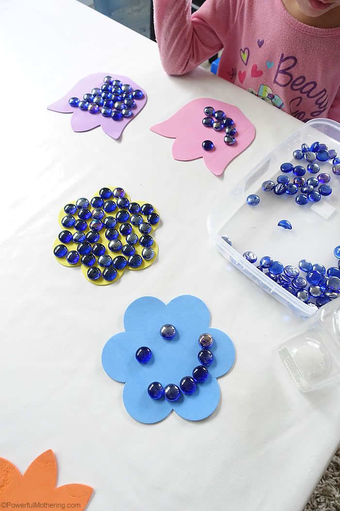 fine motor spring flowers with foam and stones