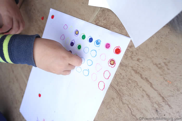 fine motor stickers with colors
