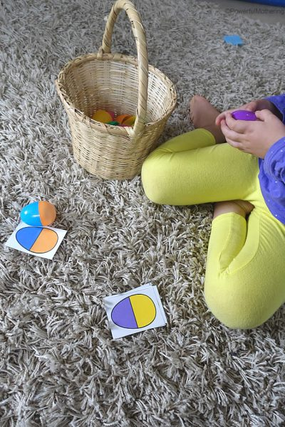 Plastic Eggs Color Sorting + Printable