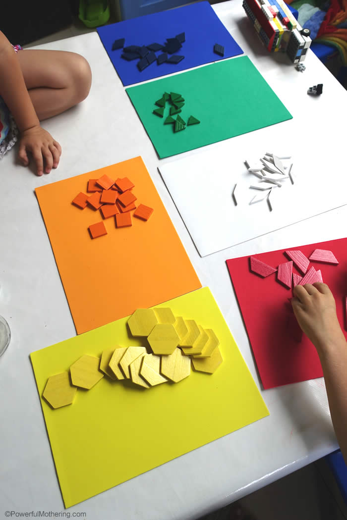 color and shape sorting with pattern blocks