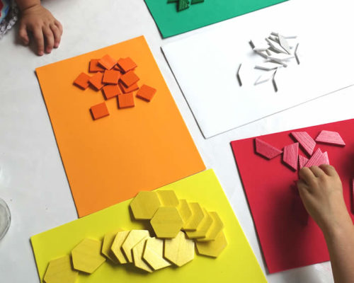 Color & Shape Sorting With Pattern Blocks