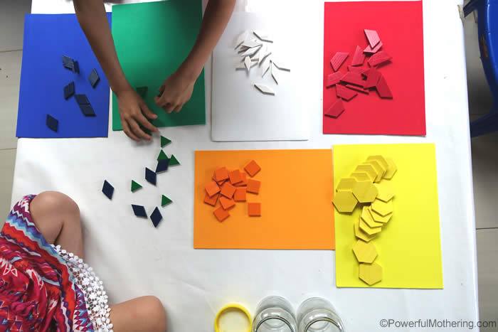 color sorting pattern blocks