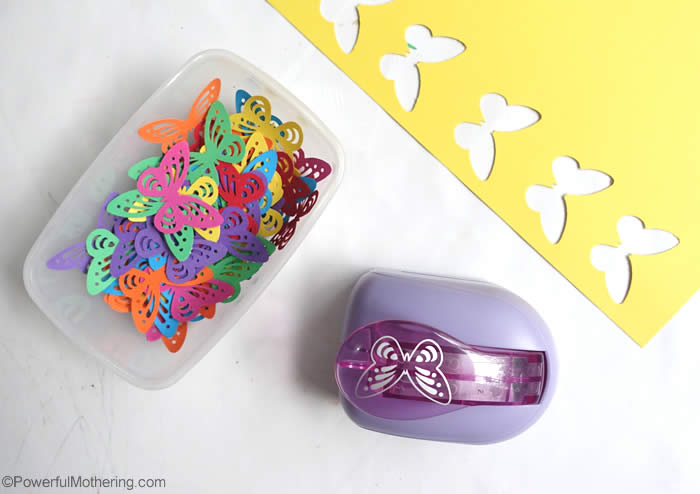 punch butterflies for color sorting