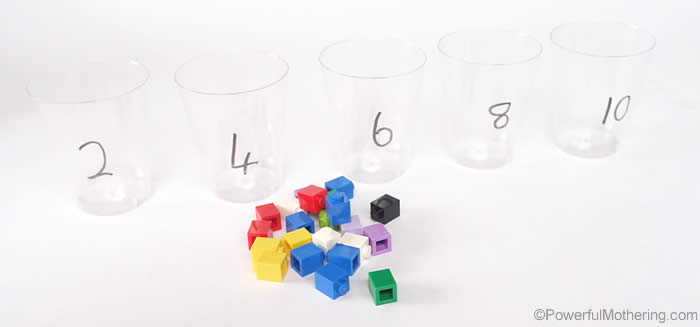 dry marker for skip counting and cups lego