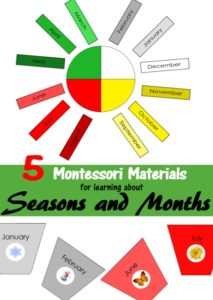 5 Montessori materials for learning about seaosons and months printables by I Believe in Montessori