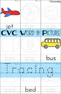 CVC Word Picture Tracing Cards