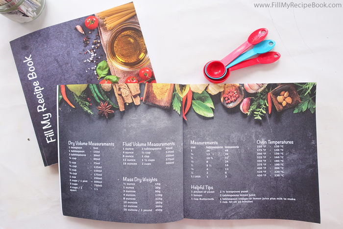 blank baking recipe book measurements page
