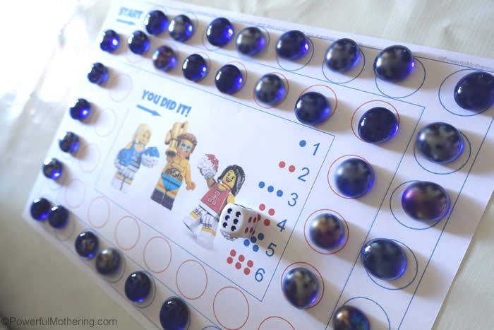 fine motor lego game with counting and dice