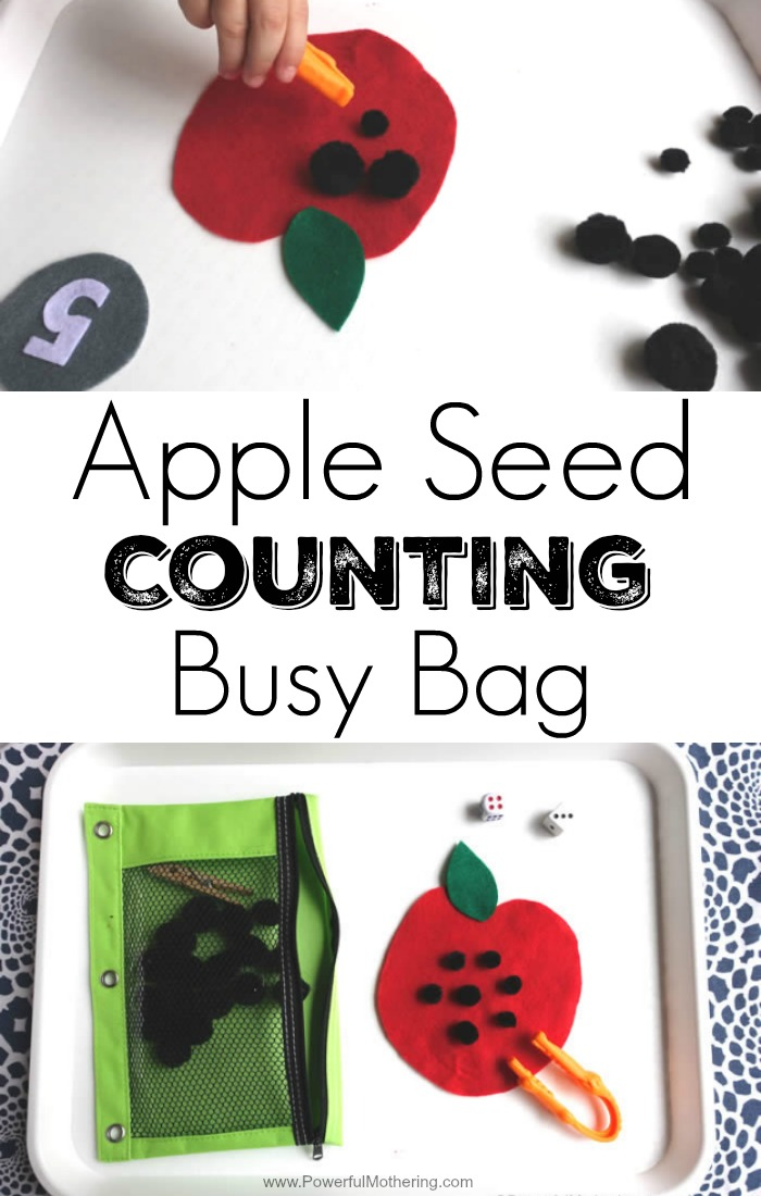 Easy to modify apple busy bag for counting and addition. suitable for toddlers and preschoolers with some modifications. Great for fine motor skills.