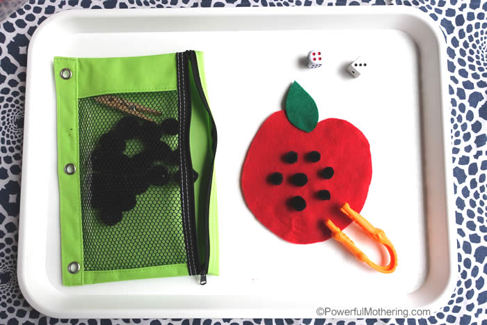 preschool apple seed busy bag