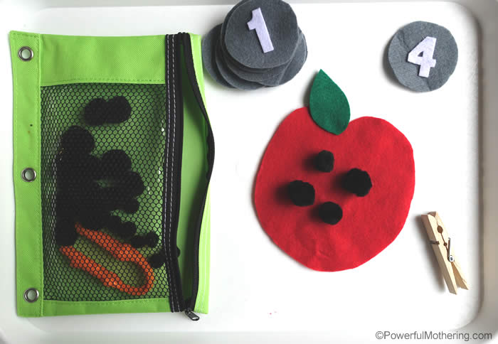 toddler apple seed busy bag idea