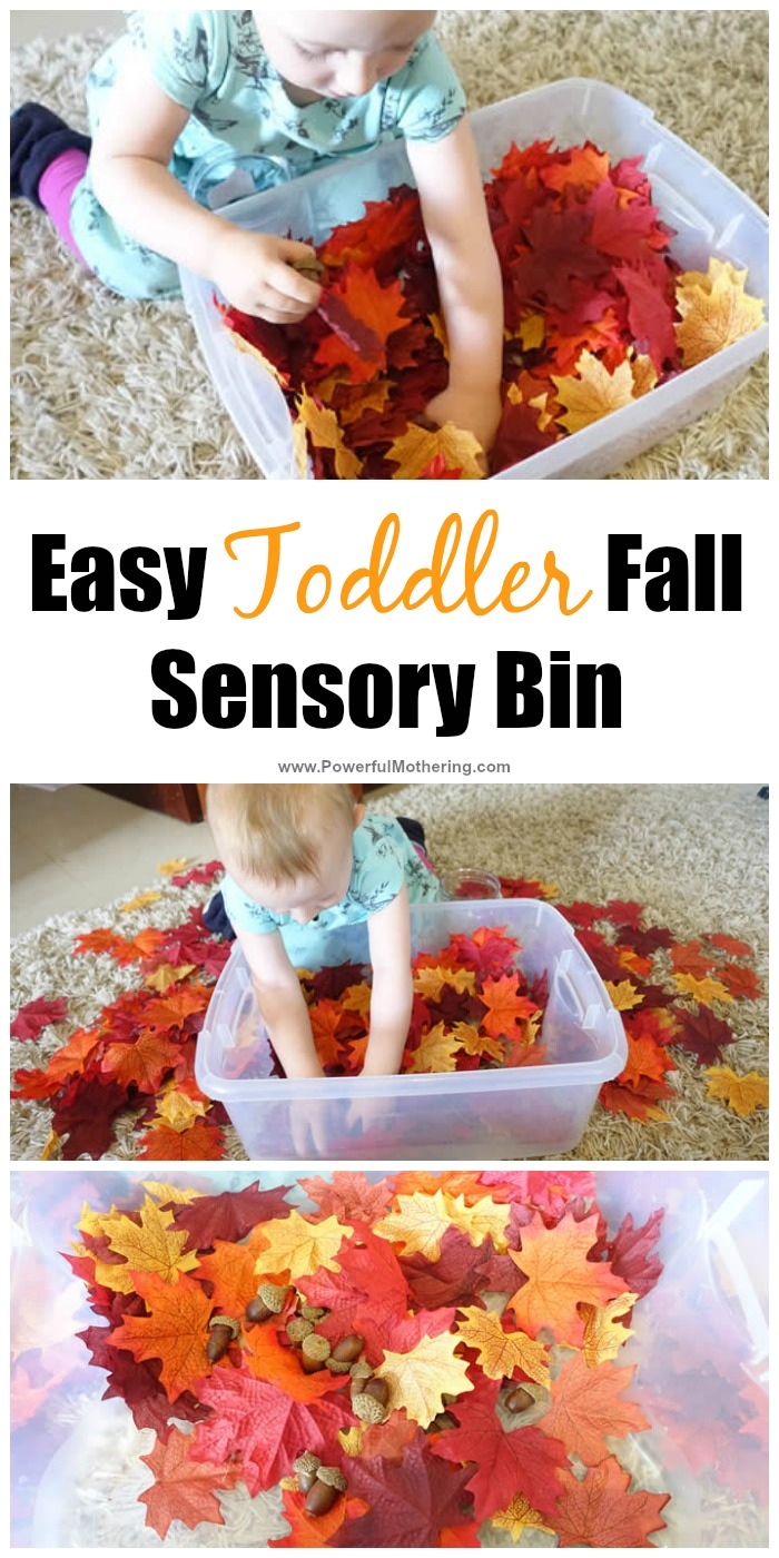easy toddler fall sensory bin idea