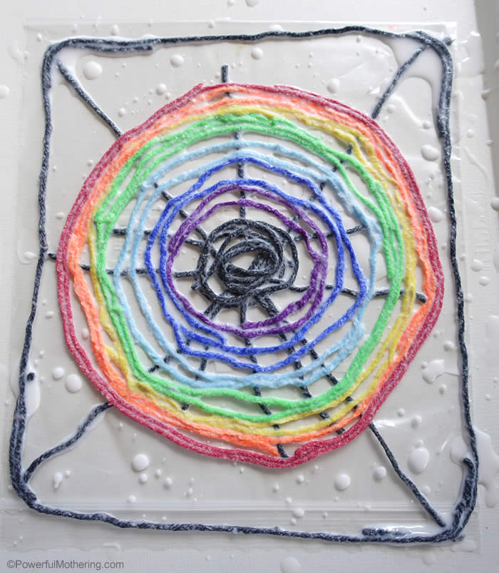 rainbow pattern spider web for preschoolers