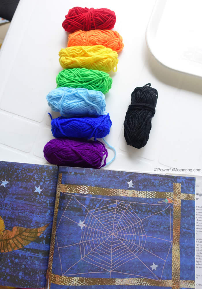 rainbow yarn and book activity