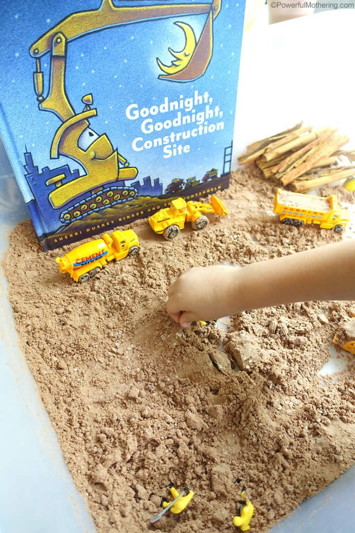 Pair your kids favorite book Goodnight, Goodnight Construction Site with a sensory activity! Make chocolate cloud dough and play construction!