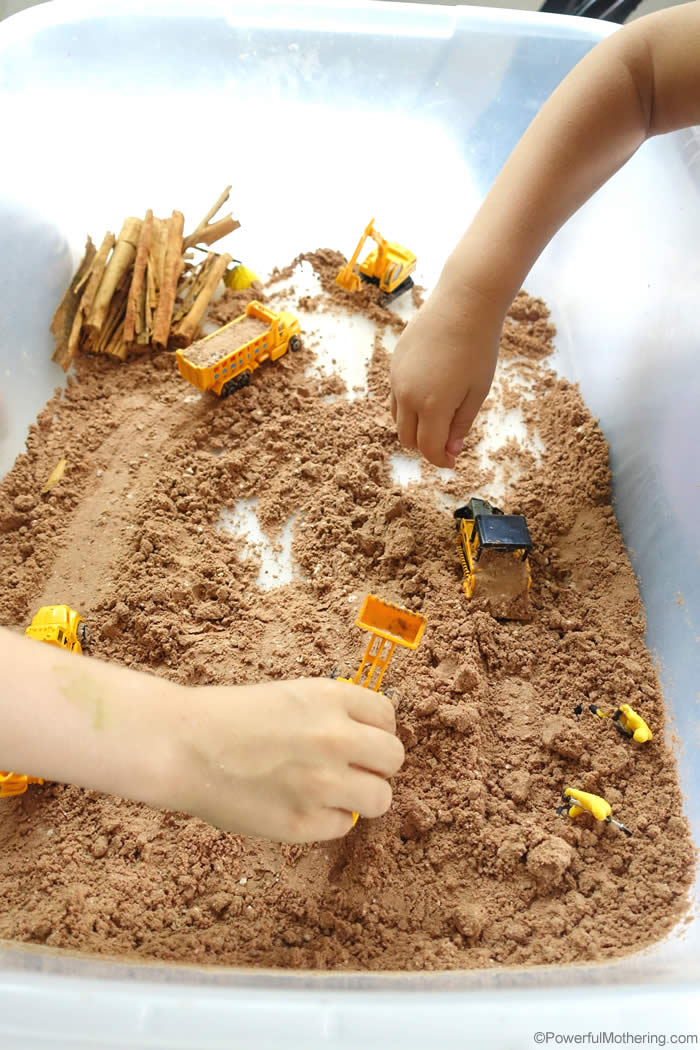 Chocolate Cloud Dough Sensory Bin Idea