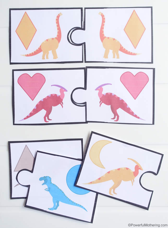 graphic regarding Dinosaur Matching Game Printable titled Dinosaur Form Matching Match